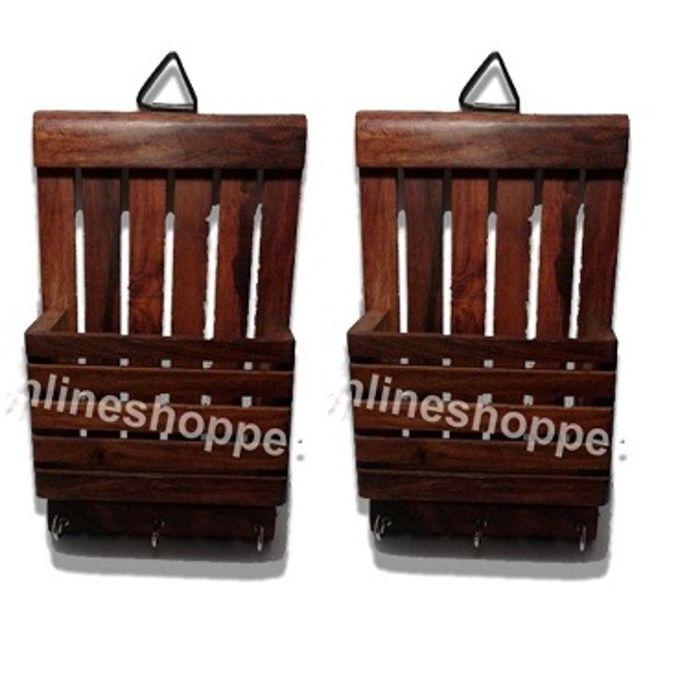 Onlineshoppee Wooden Wall Decor Letter & Key Holder,Pack Of 2