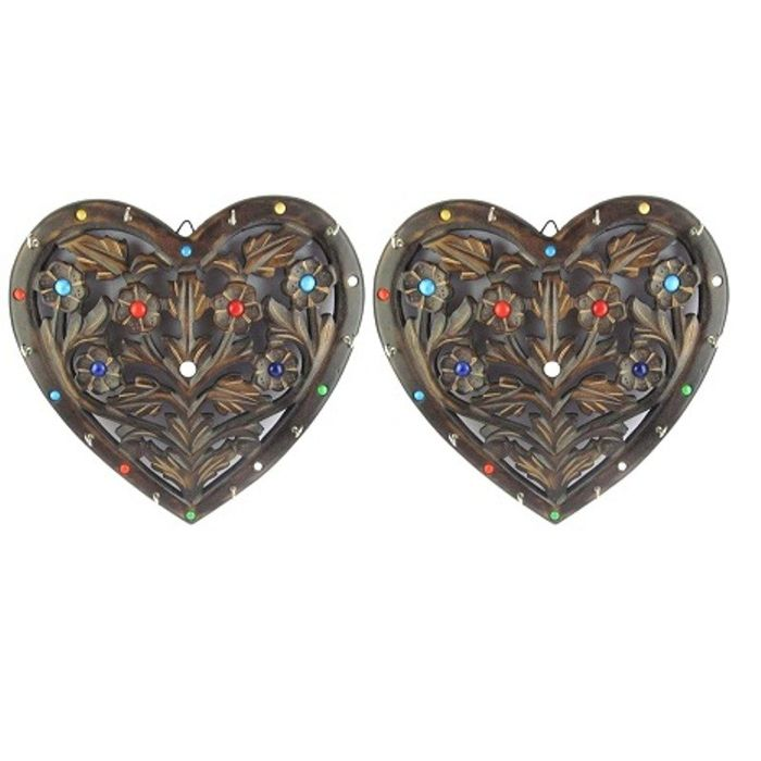 Onlineshoppee Wooden Key Holder In Heart Shape With Handicraft Design Pack Of 2