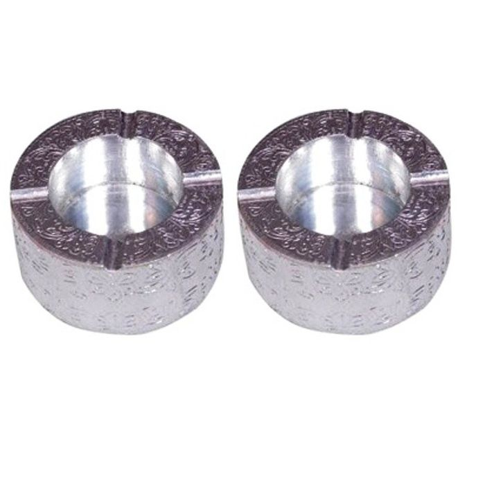 Onlineshoppee Wooden Silver Color Ashtray,Pack Of 2