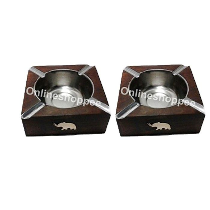 Onlineshoppee Wooden Antique Ashtray,Pack Of 2
