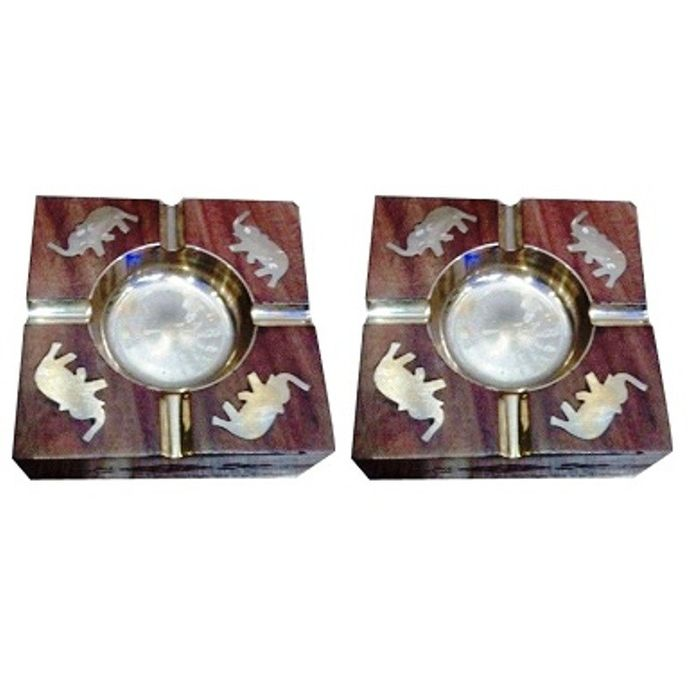 Onlineshoppee Wooden Premium Quality Antique Ashtray With Brass Elephent Design,Pack Of 2