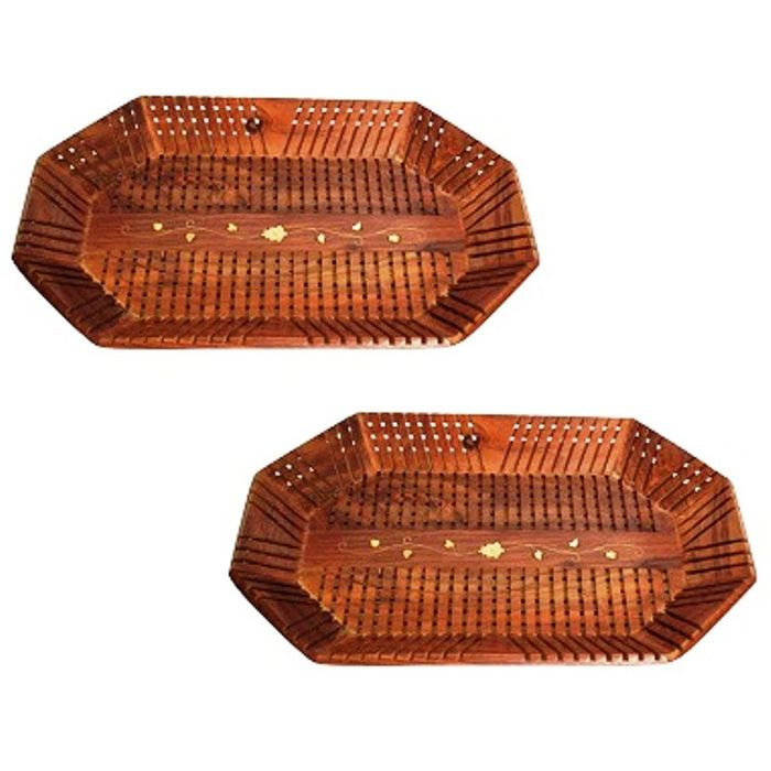 Onlineshoppee Wooden Handcrafted Serving Tray,Pack Of 2