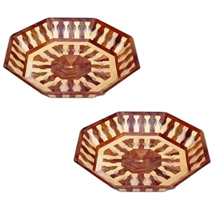 OnlineShoppee Beautiful Handicrafts Wooden Lining Tray,Pack Of 2