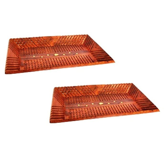 OnlineShoppee Handicrafts Wooden Rect Lining Tray,Pack Of 2