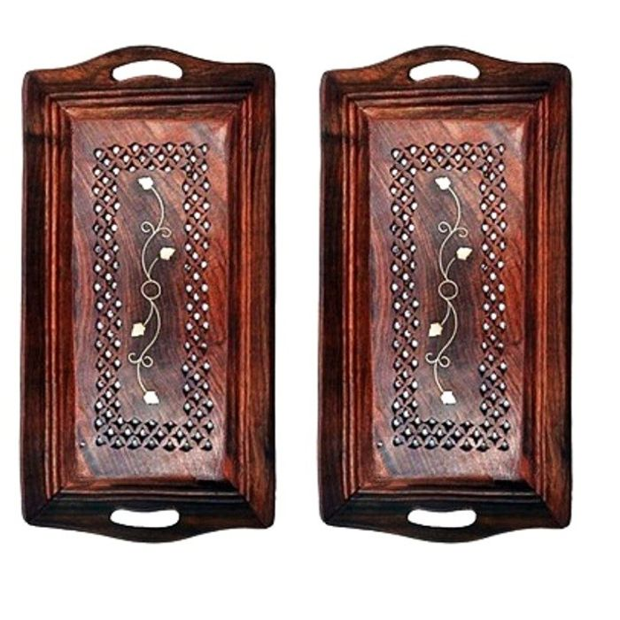 Wooden Premium Quality Serving Tray With Hand Carved Design Pack Of 2