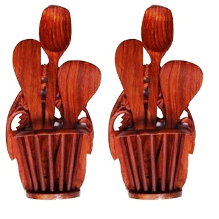 Onlineshoppee Beautiful Wooden Hand Carved Wall Hanging  Kitchen Ware Holder  With 3 Spoon,Pack Of 2