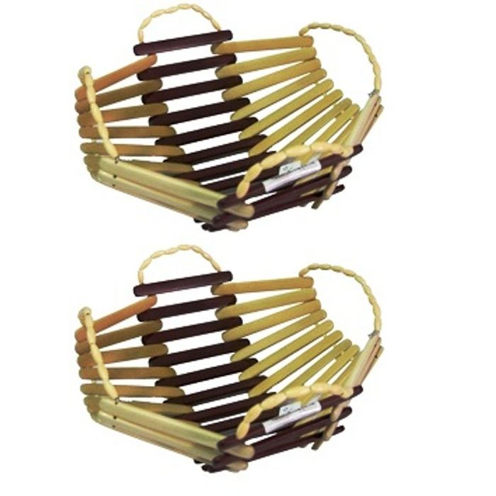Onlineshoppee Wooden Bamboo Fruit & Vegetable Basket With Handle,Pack Of 2