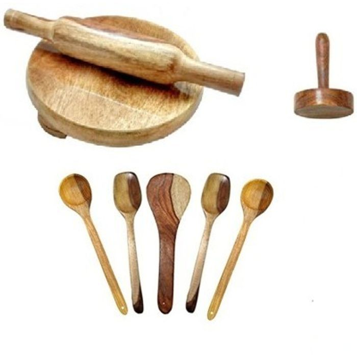 Onlineshoppee  Antique Wooden Handmade 5 Cooking Spoon,1 Rolling Pin,1 Chakla, 1 Masher Pack Of 8