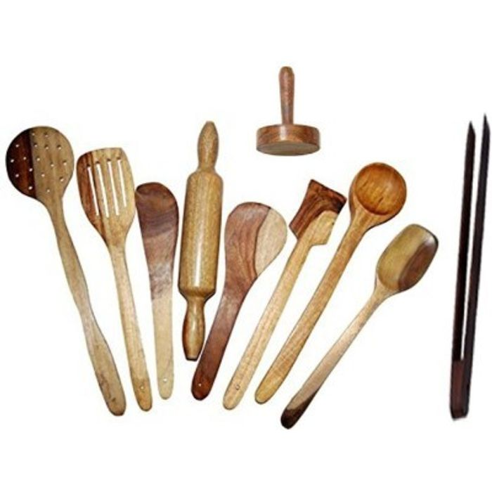 Onlineshoppee  Antique Wooden Handmade 7 Cooking Spoon,1 Rolling Pin, 1 Masher,1 Tong Pack Of 10