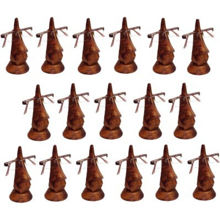 Family Pack of 17 Pc Handmade Wooden Nose Shaped Specs Stand Spectacle Holder