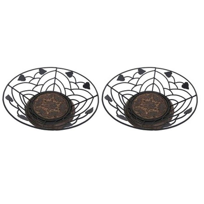 Onlineshoppee  Wooden & Iron Fruit and Flower Basket Without Handle,Pack Of 2