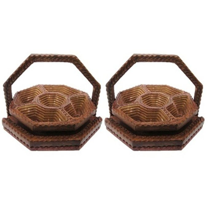 Onlineshoppee 1 Piece Condiment Set Wooden Fruit Basket,Pack Of 2