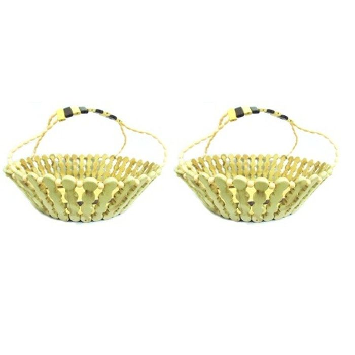 Onlineshoppee Wooden Flower  and Fruit Basket,Pack Of 2