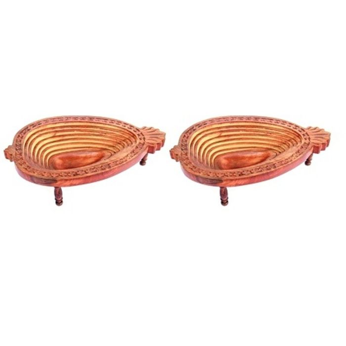 Onlineshoppee Wooden Fruit & Vegetable Basket Size-LxBxH-13x4x10 Inch,Pack Of 2
