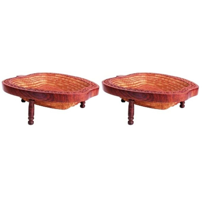 Onlineshoppee Wooden Fruit & Vegetable Basket Size-LxBxH-9.5x9.5x3.5 Inch,Pack Of 2