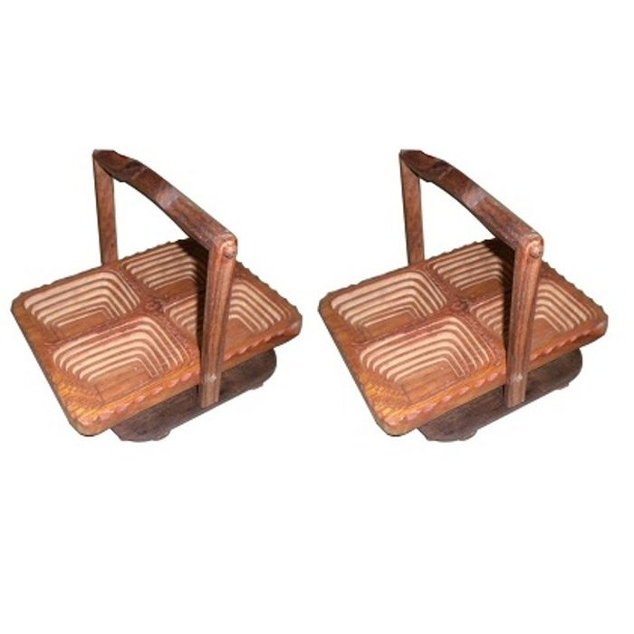 Onlineshoppee Wooden Fruit Basket ,Pack Of 2