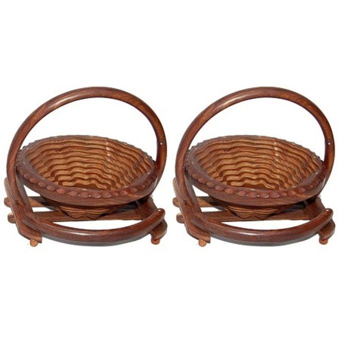 Onlineshoppee Fully Foldable Wooden Fruit Basket,Pack Of 2
