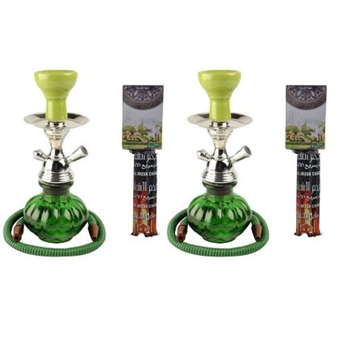 Onlineshoppee Green Hookah With Coal Pack And Flavor,Pack Of 2