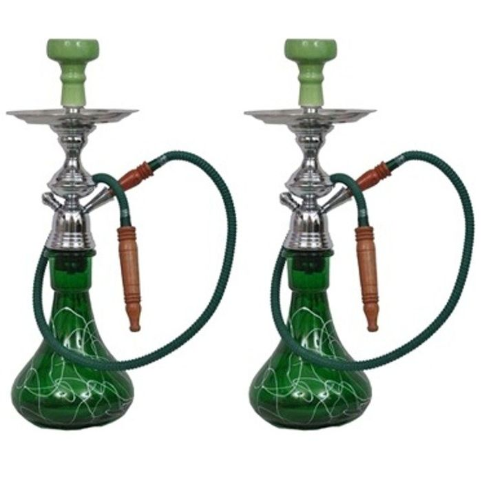 Onlineshoppee Hookah Green  With Free Coal and Flavour,Pack Of 2