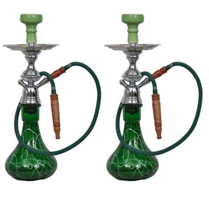 Onlineshoppee Hookah Green With Free Charcoal Pack And Flavour,Pack Of 2
