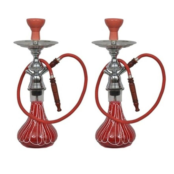 Onlineshoppee 22 inch Glass Hookah Color-Red,Pack Of 2