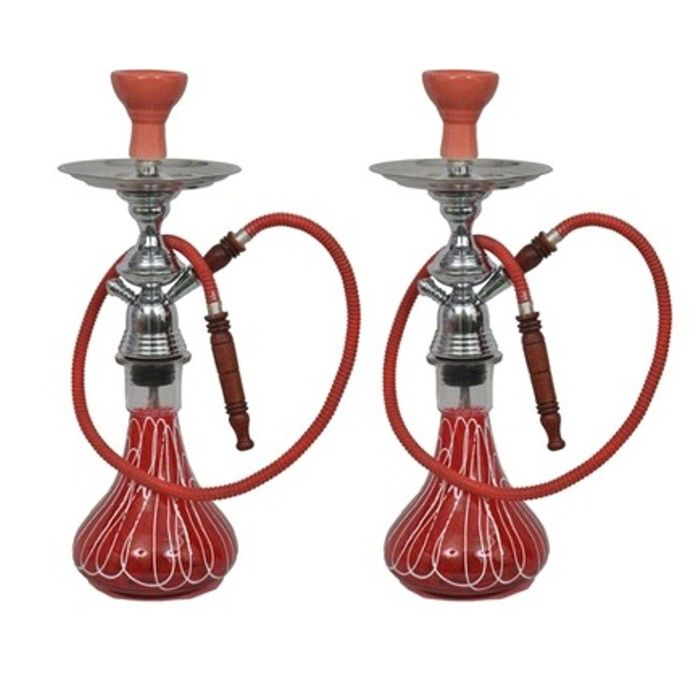 Onlineshoppee  Glass Hookah Color-Red,Pack Of 2