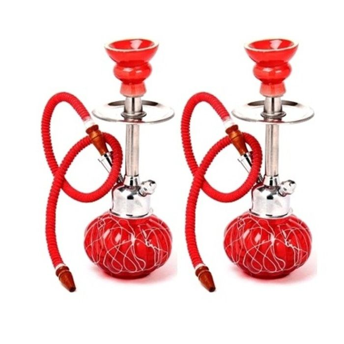 Onlineshoppee Beautyful Design Matel & Glass Hookah Color-Red Pack Of 2