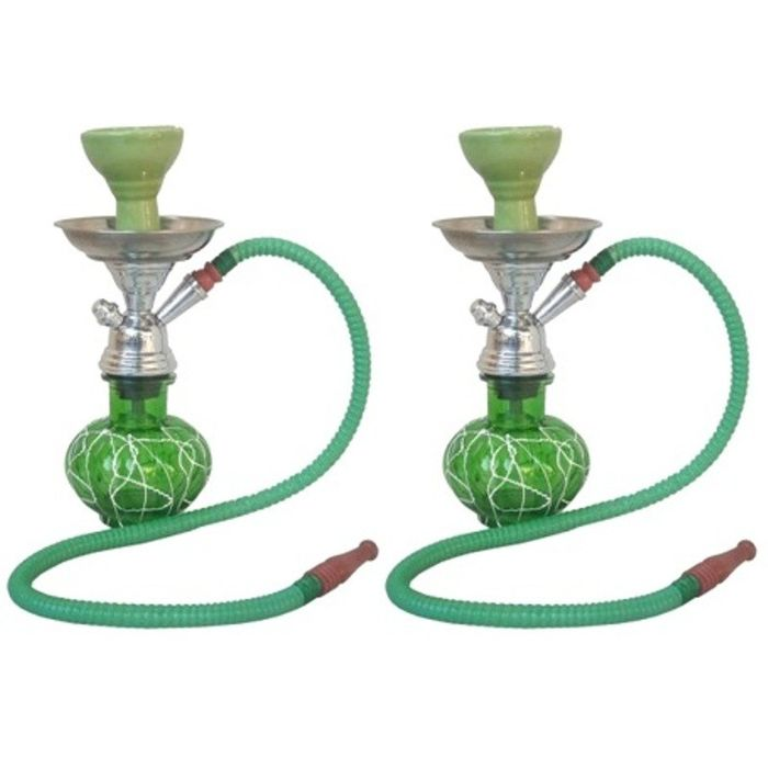 Onlineshoppee Green Stylish 12 inch Glass Hookah With Coal Pack And Flavor,Pack Of 2