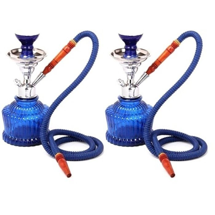Onlineshoppee Home Decor Glass Hookah Color-Blue Size-13 Inch,Pack Of 2