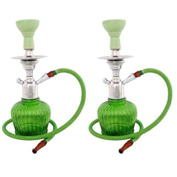 Onlineshoppee Home Decor Glass Hookah Color-Green Size-12 Inch,Pack Of 2