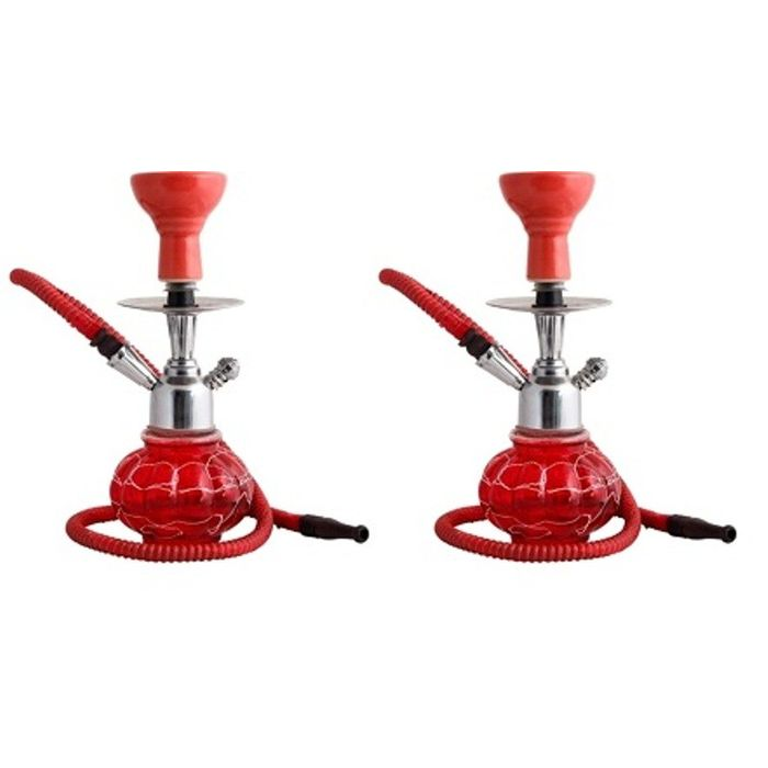 Onlineshoppee Matel & Glass Hookah Size 12 Inch,Pack Of 2