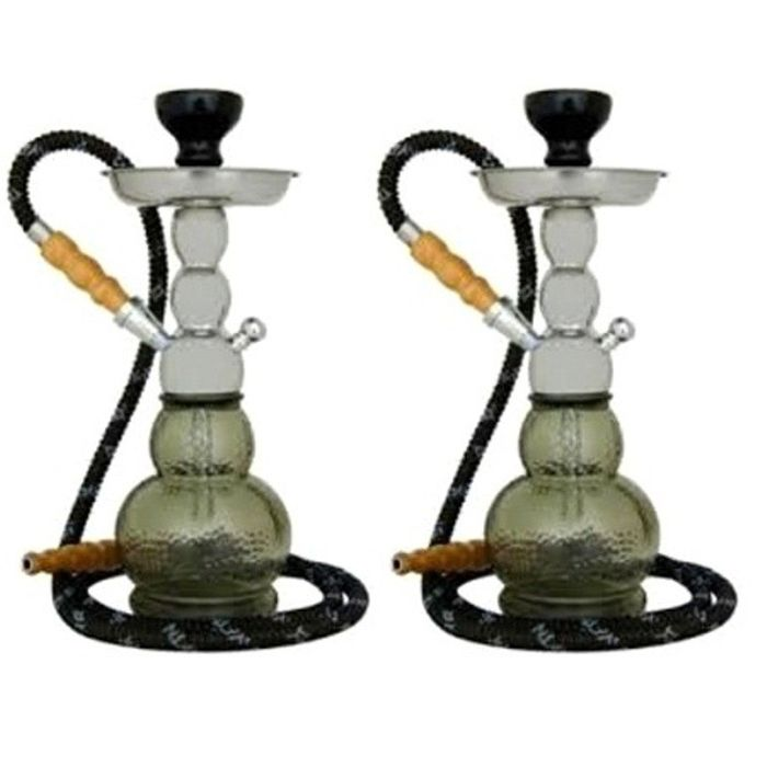 Onlineshoppee Mya Gelato Imported 14 inch Glass Hookah With Tong,Coal Pack And Flavor,Pack Of 2
