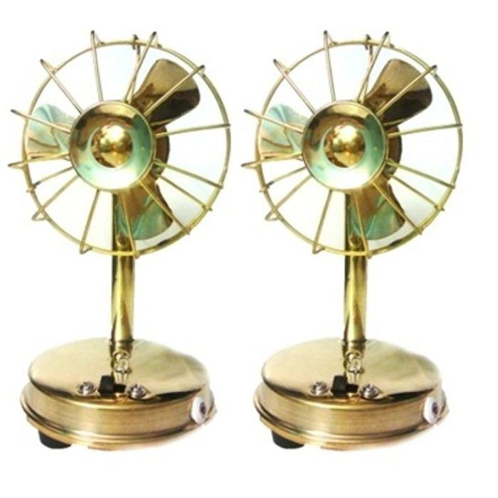 Onlineshoppee Brass Toy Fan Showpiece Figurine,Pack Of 2