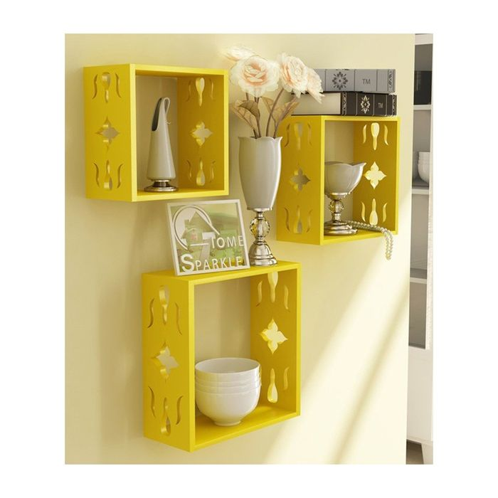 Onlineshoppee Square Nesting Wooden Wall Shelf Size(LxBxH-10x3.5x10) Inch