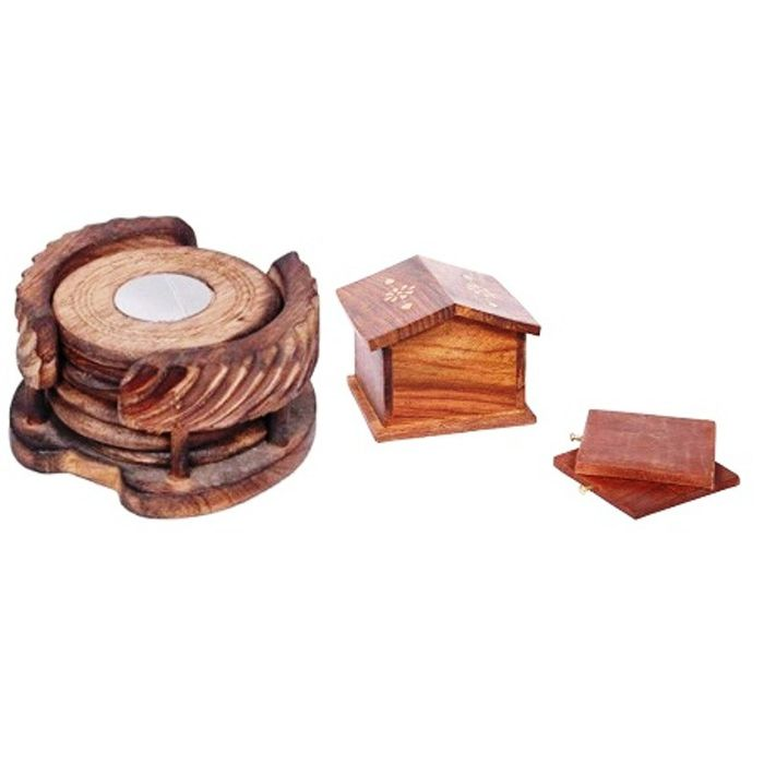 Onlineshoppee Wooden Hut Coaster Set,Pack Of 2
