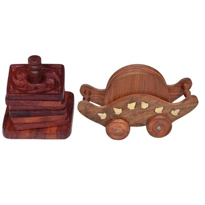 Onlineshoppee Wooden Troly Shaped With Brass Work Coaster Set,Pack Of 2