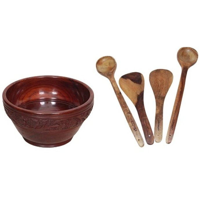 Onlineshoppee Wooden With Handcarving Kitchen Ware 1 Bowl,4 Cooking Spoon Pack Of 5