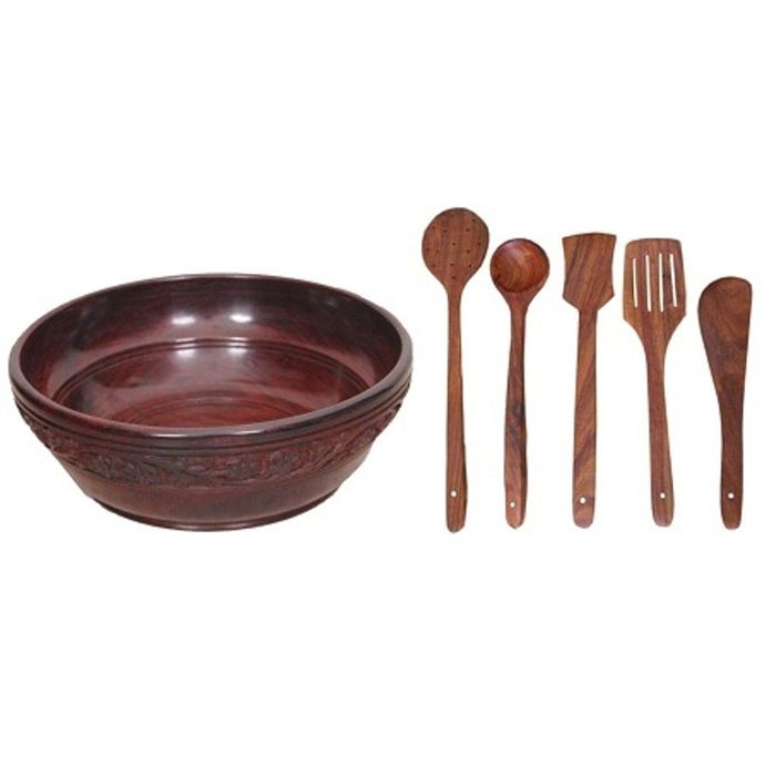 Onlineshoppee Wooden With Handcarving Kitchen Ware 1 Bowl,5 Cooking Spoon,Pack Of 6