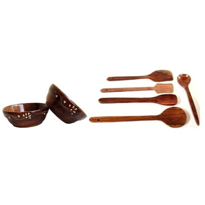 Onlineshoppee Wooden Bowls (Set of 2) & Wooden Handmade Cooking Spoon Set
