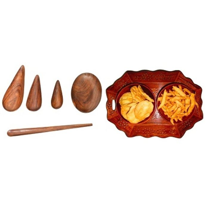 Onlineshoppee Wooden Dry Fruit and Snacks Hexagonal Tray,Wooden Handmade Serving and Cooking Spoon Set