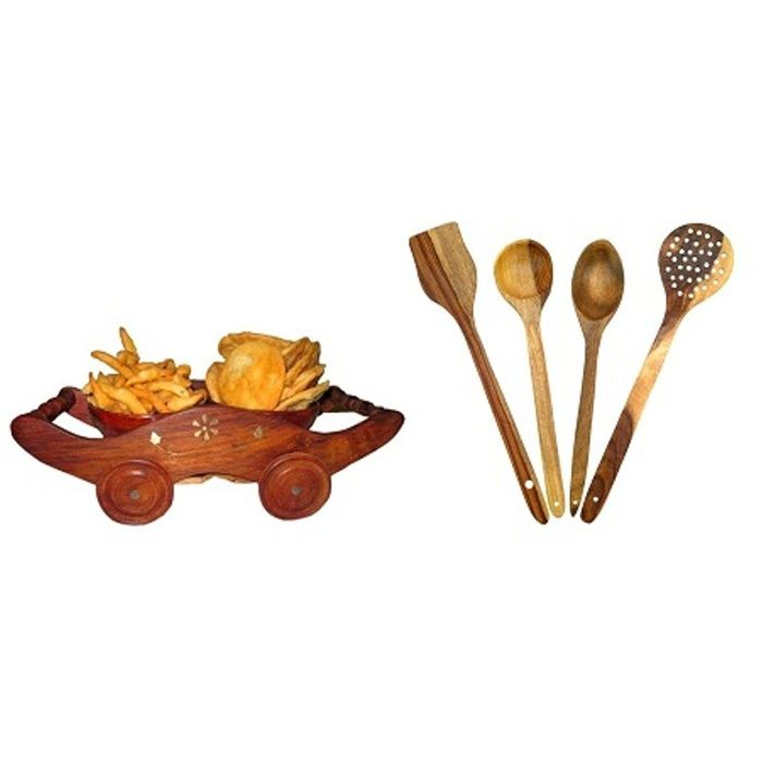 Onlineshoppee Wooden Handmade Cooking Spoon Kitchen Set,Wooden Dry Fruit and Snacks Trolley