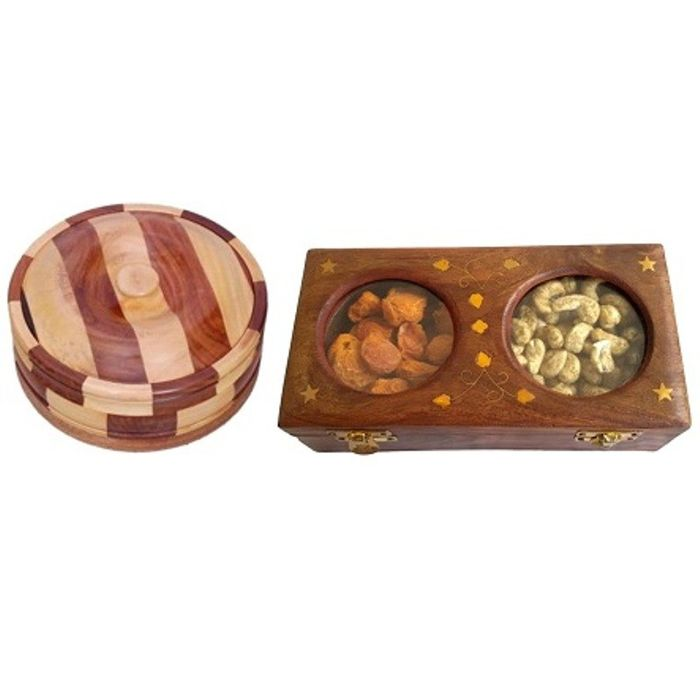 Onlineshoppee Wooden Dry Fruit Box with 2 Steel Bowls,Wooden Antique Handcrafted Chapati Box