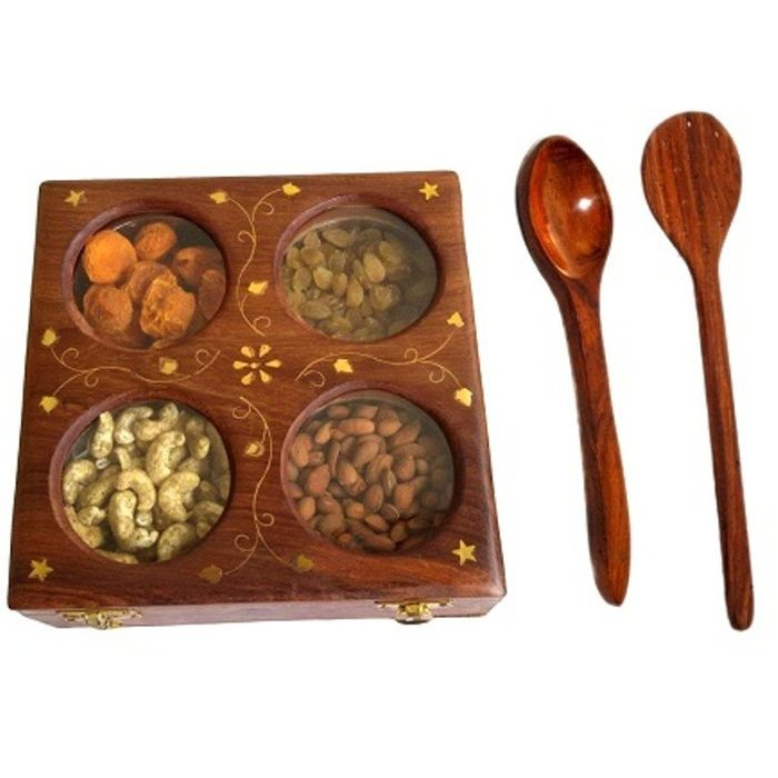 Onlineshoppee Wooden Dry Fruit Box with 4 Steel Bowls,Wooden Handicraft Exclusive Serving Spoon