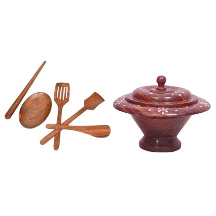 Onlineshoppee Wooden Kitchen Ware Dry Fruit Box,Wooden Handmade Serving and Cooking Spoon Set