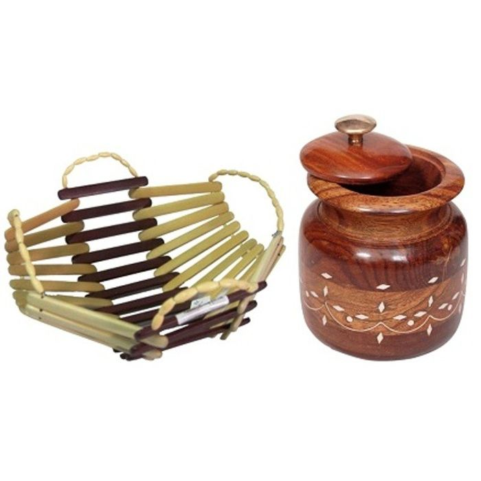 Onlineshoppee Wooden Tea Coffee Sugar Bowls With Brass Work For Home & Kitchen,Wooden Bamboo Fruit & Vegetable Basket
