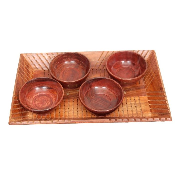 Onlineshoppee Handicrafts Designed Brown 1 Tray With 4 Bowls Wood Carvings Size-(14x9x1.5)Inch