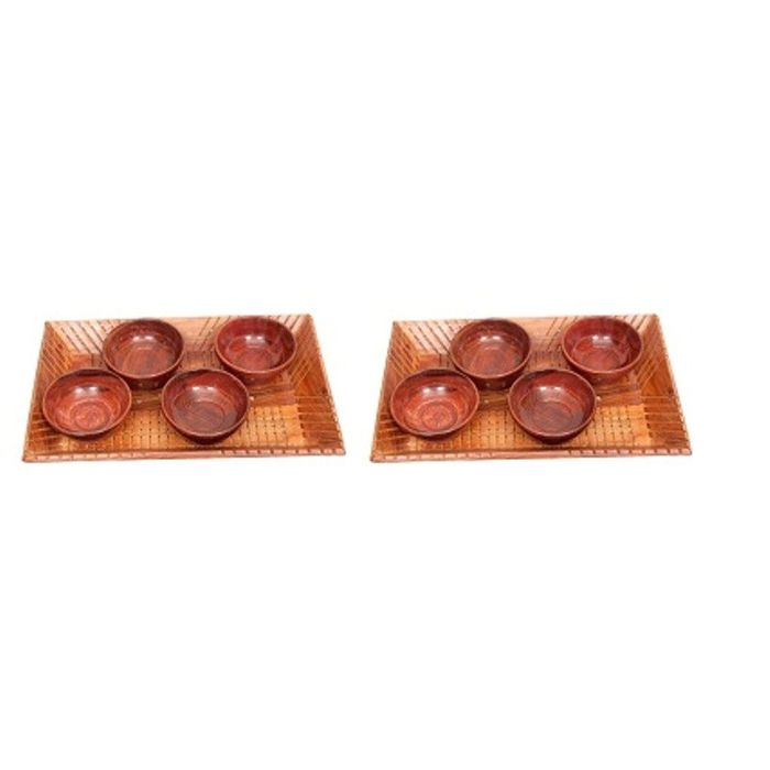 Onlineshoppee Handicrafts Designed Brown 2 Tray With 8  Bowls Wood Carvings Size-(14x9x1.5)Inch,