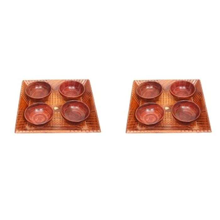 Onlineshoppee Handicrafts Designed Brown 2 Tray With 8 Bowls Wood Carvings Size-(11x11x1.5)Inch