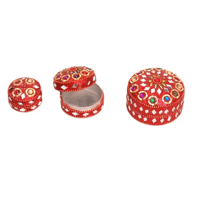 Onlineshoppee Antique Metal Red Jewellery Vanity Multi Purpose Box with Laak Work