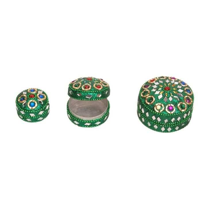 Onlineshoppee Antique Metal Green Jewellery Vanity Multi Purpose Box with Laak Work Size-lxbxh-3x3x2 -Inch